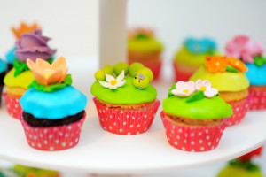 Bright and funny colorful cupcakes